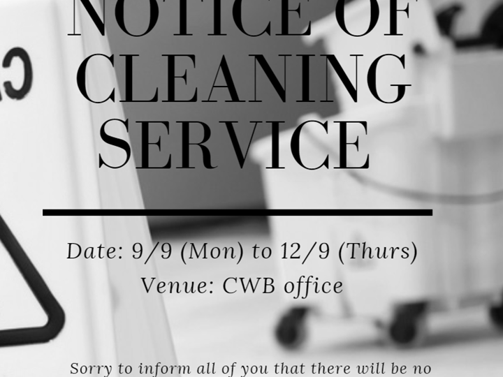 Notice of Cleaning Service